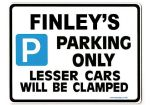FINLEY'S Personalised Gift |Unique Present for Him | Parking Sign - Size Large - Metal faced